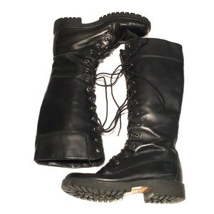 🖤TIMBERLAND black leather tall laced combat boots